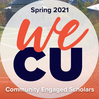 """Orange and blue graphic with the words, """"Spring 2021 We CU"""""""