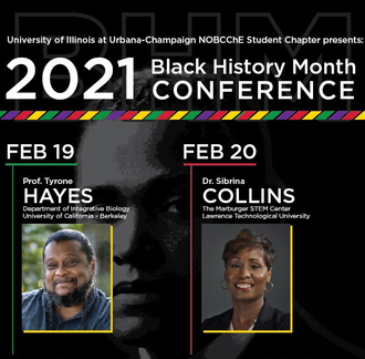 Event flyer with details of the NOBCChE Black History Month event