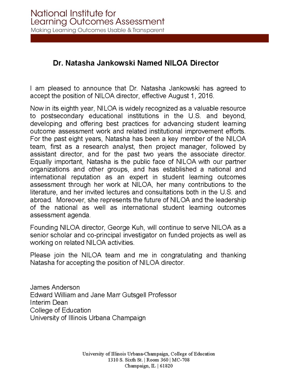 niloa newsletter we are pleased to announce that dr natasha jankowski has agreed to accept the position of niloa director for the past eight years natasha has been a key