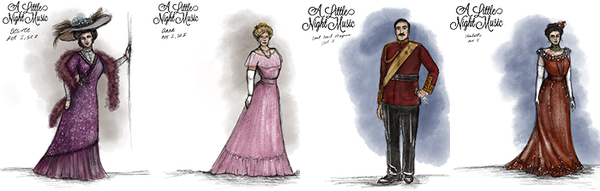 4 costume drawings for A Little Night Music by Larissa Almanza, Costume Designer