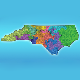 This Blue Waters-generated map shows a redistricting option for North Carolina (Photo courtesy of National Center for Supercomputing Applications).