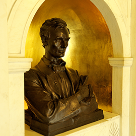 Abraham Lincoln bust in the entrance of Lincoln Hall at Illinois