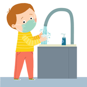 Child washing hands while wearing a mask