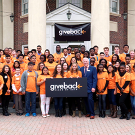 Robert Carr and students at a Give Something Back Foundation event.