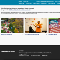 Front page of CAN website, featuring a photo of walkways and trees on UIC's quad, Dr. Natalie Bennett speaking to a group, and WLRC buttons.