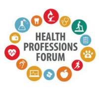 Health Professions Forum logo with small graphics of medical items like a flask, a microscope, and a stethoscope.