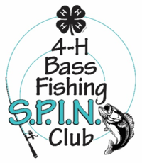 Fish on a line with the words Bass Fishing SPIN Club