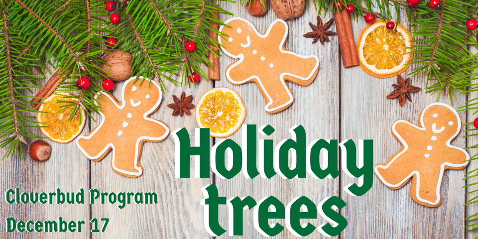 pine tree branches and gingerbread people