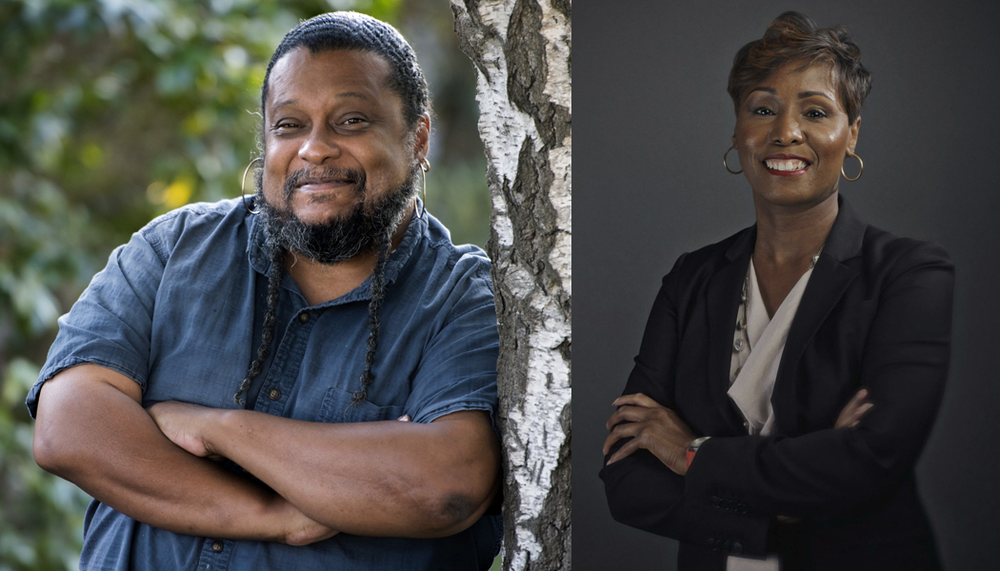 Portrait of Tyrone Hayes, left, in a blue collared shirt with arms crossed, leaning against a tree, and a portrait, on the right, of Sibrina Collins, a in a suit jacket and shirt with arms crossed on a gray portrait background.