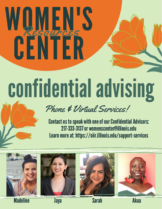 Image of a poster with information about Women's Resources confidential advising.