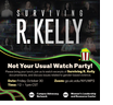 """""""SURVIVING R. KELLY"""" in white text over faded images of women featured in the documentary."""