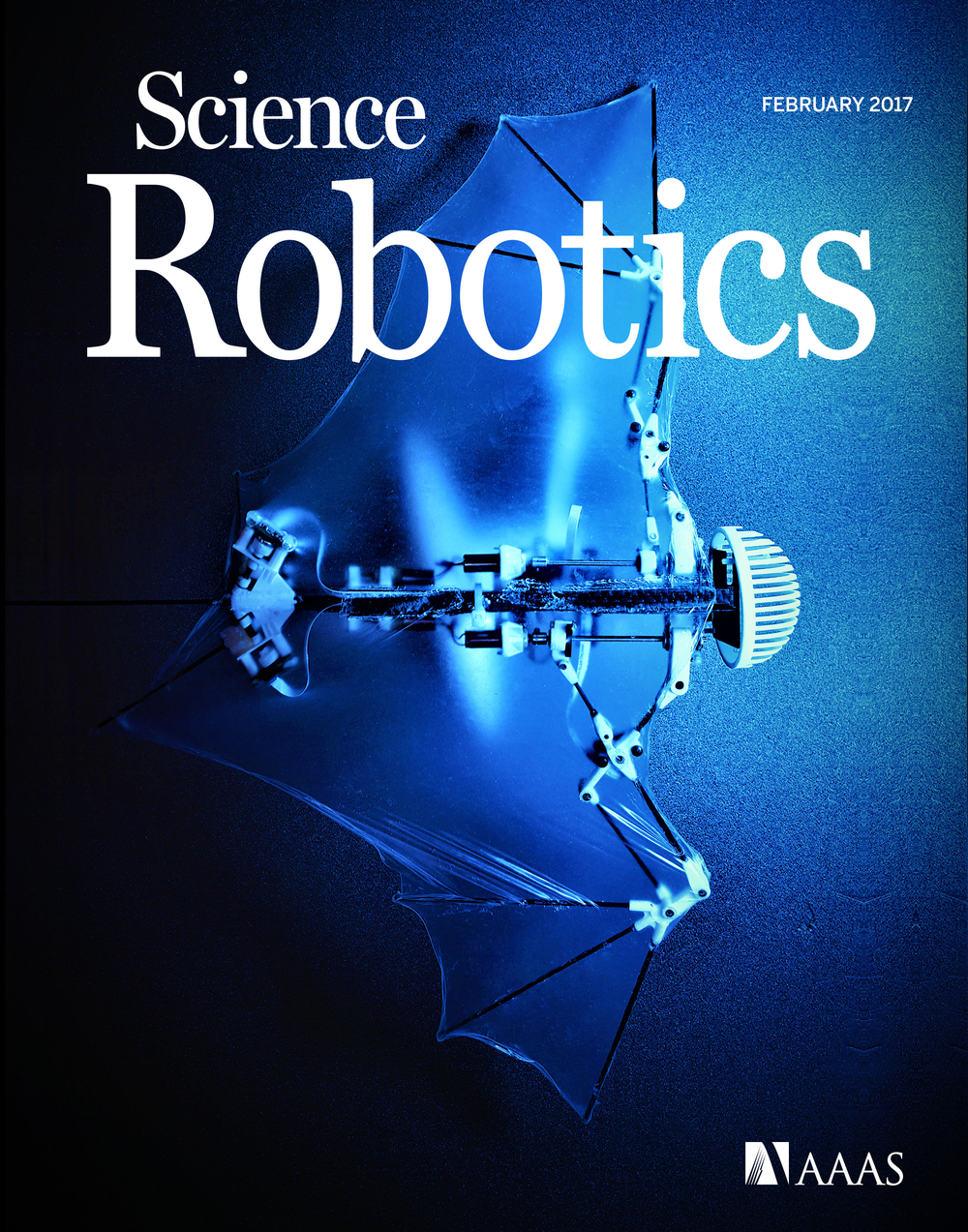 "The robotic ""bio-bat"" demonstrates self-contained autonomous flight by mimicking morphological properties of flexible bat wings. Cover photo reprinted with permission from AAAS."