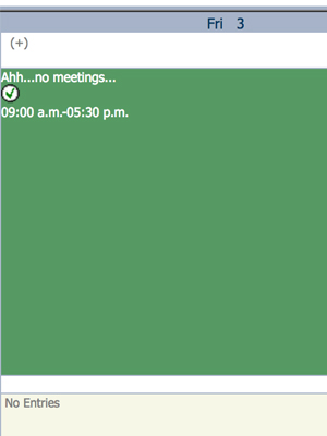 Image of calendar with no meetings on a Friday