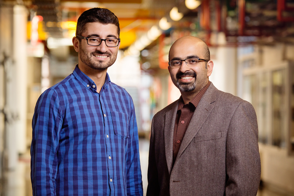 Agricultural and biological engineering and CSL professor Girish Chowdhary, right, is working on the $3.1 million project, along with postdoctoral researcher Erkan Kayacan.