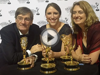 Alison Davis and team with Emmys