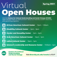 White text on a green background listing the Open House event dates
