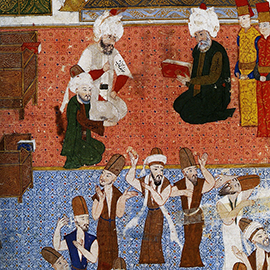 A painting depicts a visit by 16th century Ottoman general Lala Mustafa Pasha to the tomb of Rumi in Konya, Turkey. The image was used to help highlight the Digital Islamic Studies Curriculum in the CourseShare program. (Image courtesy of Valerie Hoffman.)