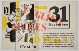the book open to a page that says 31 Decembre over more text in French. There are words and abstract shapes in bold colors on the opposite page.