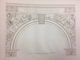 an engraved plate of the arc de triomphe. the text on the arch reads victoire d'austerlitz