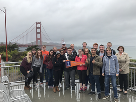 ACE students pose in front of the Golden Gate Bridge