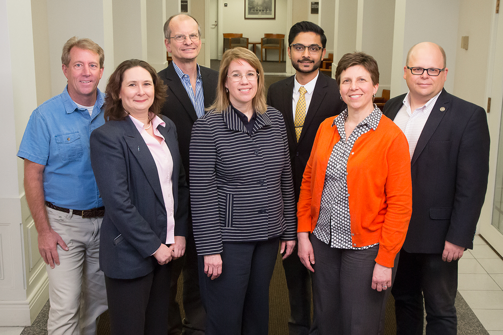 The Carle Illinois College of Medicine's nearly 100 faculty include prominent researchers, administrators and medical professionals with a broad range of expertise. Pictured, back row, from left: Jeff Woods, professor, College of Applied Health Sciences; Dan Morrow, professor, College of Education; Dr. Priyank Patel, Carle; Wawrzyniec Dobrucki, professor, College of Engineering. Front row, from left: Margarita Teran-Garcia, professor, College of ACES; Susan Martinis, professor, College of LAS; and Janet Liechty, professor, School of Social Work. Photo by L. Brian Stauffer