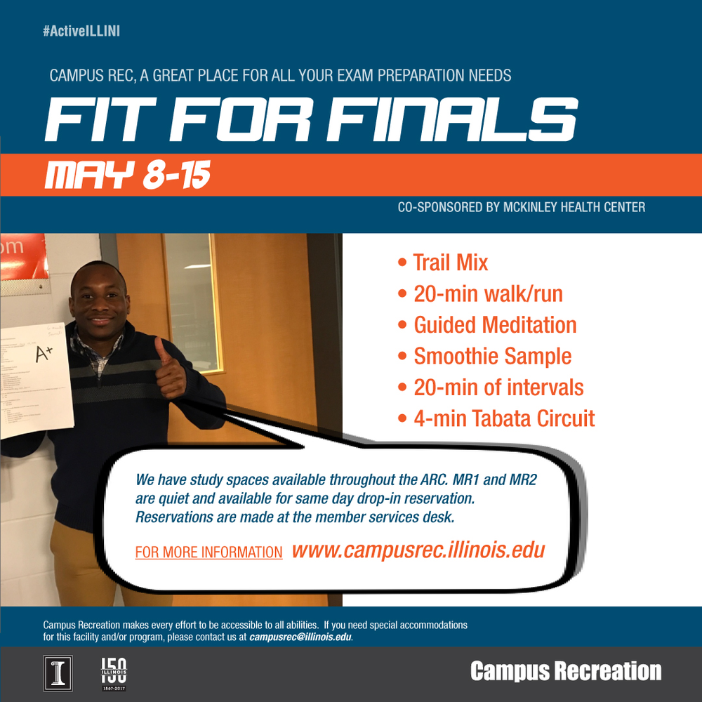 Stay 'Fit for Finals' this week, courtesy of Campus Recreation