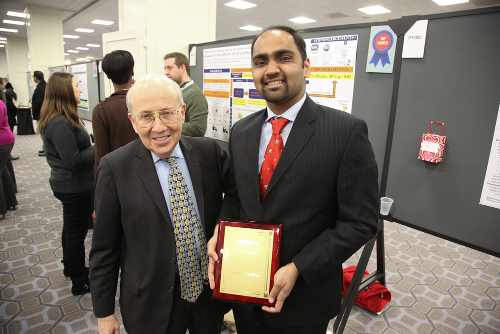 Arjun Athreya (right) received the 2017 Presidential Trainee Award and Jason Morrow Trainee Award at the American Society for Clinical Pharmacology and Therapeutics conference, two top awards that reflect the significance of his work in the field of precision medicine.