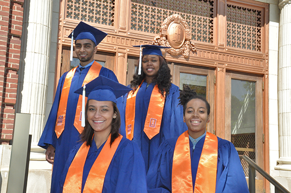 several 2017 Lincoln Scholars in caps and gowns