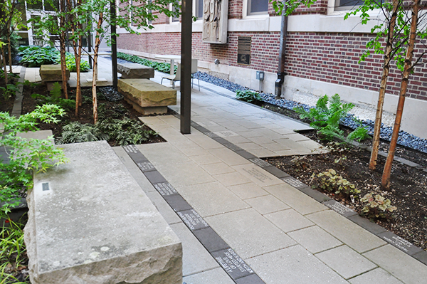 courtyard and pavers at Lincoln Hall