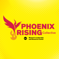 """""""PHOENIX RISING Collective"""" in red block letters above """"UIC Women's Leadership and Resource Center"""" in black block letters. To the left of the words is a red phoenix rising above orange flames."""