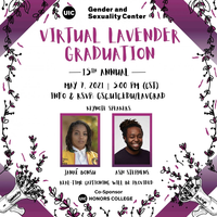 Headshots of Janaé Bonsu and Ash Stephens on a white background with a border of black and purple flower vines. In the bottom corners are two loudspeakers with flower vines coming out of them.