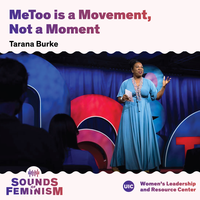 Tarana Burke, an African American woman, wearing a long blue dress against a blue, red, and pink background