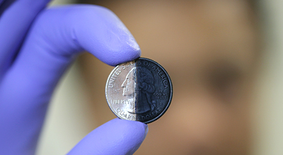 Photo of electroplated coin.