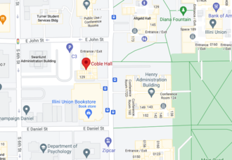 Map showing location of Coble Hall, 801 South Wright Street