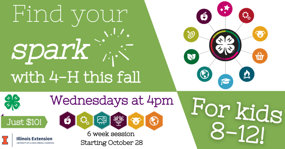 Find your spark with 4-H this fall - wednesdays at 4pm. For kids 8-12.