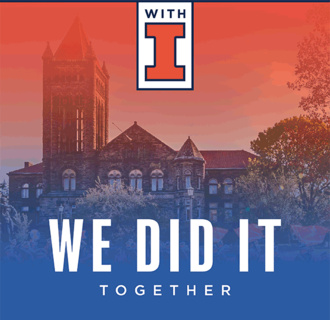 """Image of Altgeld Hall with """"We did it together"""" text."""