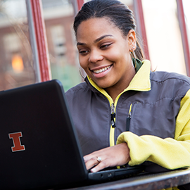 Illinois student on laptop