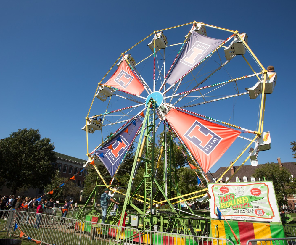 Ferris wheel with With Illinois banners on the Illinois Main Quad