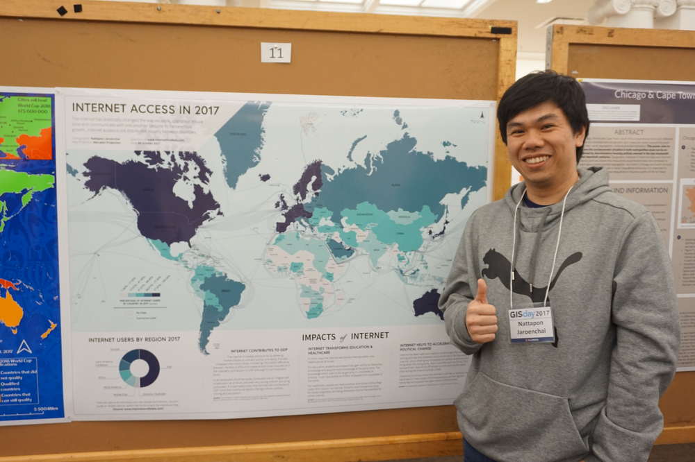 PSM in GIS student Nattapon Jaroenchai with his GIS Day 2017 poster