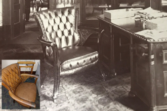 An architect determined that an existing chair (lower left) in a professor's office in Altgeld Hall is an original from the office of former U of I President Andrew Draper, who worked there from 1897-1904. | Photos from Bailey Edward