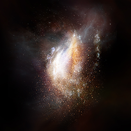 Artist impression of a galaxy from the very early universe.