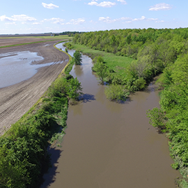 standing water in farm fields after flooding along the Kaskaskia River