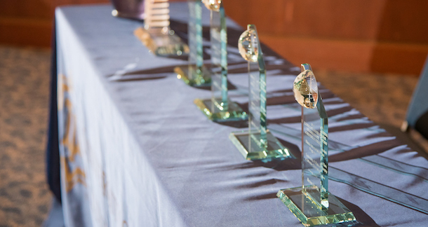 image of international achievement awards in a row on table