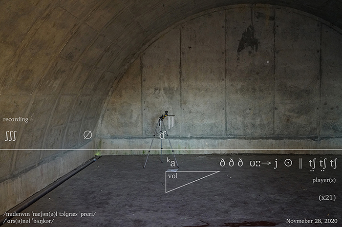 Tripod in a bunker with text and symbols on the image.