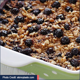 Baked Oatmeal with Blueberries and Bananas with link to recipe - image by unsplash