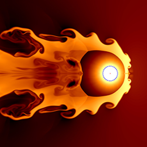 Pictured is a simulation of a nearby supernova colliding with and compressing the solar wind.