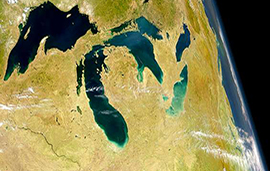 Great Lakes from space image provided by the SeaWiFS Project, NASA/Goddard Space Flight Center, and ORBIMAGE