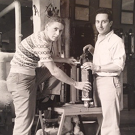 Joseph Sant'Angelo, at right, poses with a fellow student during his days at U of I.