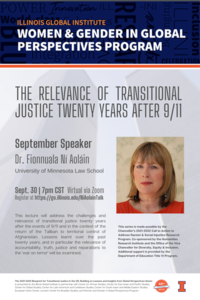 Flyer for blueprint for transitional justice in the United States speaker series event Ni Aolain