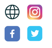 Icons for website, Instagram, Facebook,and Twitter